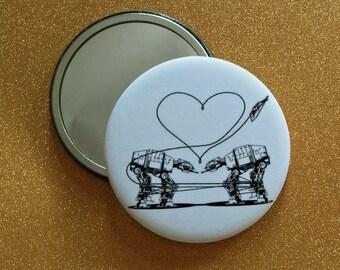 2.25 Inch AT-AT Love Purse Mirror - White, Star Wars Mirror, Star Wars Gift, Star Wars Party, Pocket Mirror, Compact Mirror, Hand Mirror