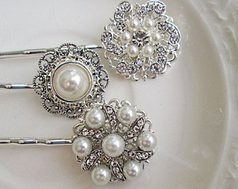 Bridal Hair Pins, Pearl Hair Pins, Wedding Hair Clip, Bridal Bobby Pins, Rhinestone Bobby Pin, Wedding Hair Pins,Wedding Bobby Pins