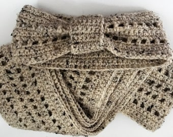 Headband and Scarf in Oatmeal Combo