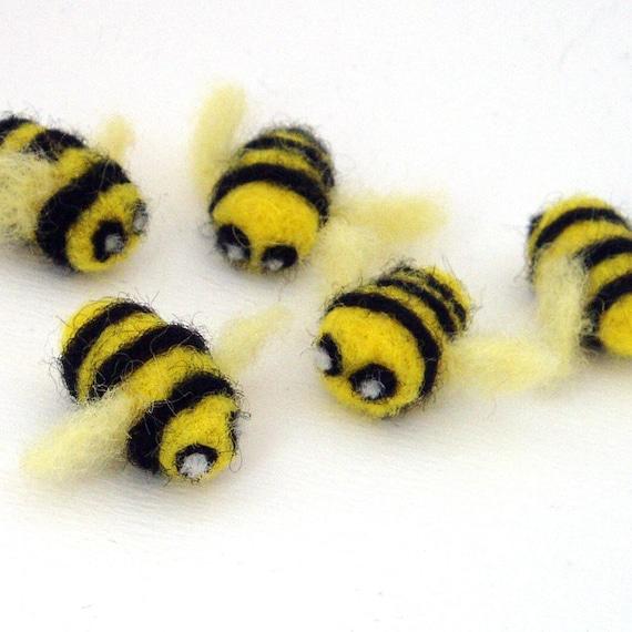 5 Gefilzte Bienen Filzen Honig Hummel nadel gefilzte Tiere