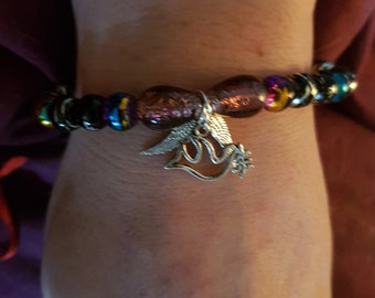 Beaded dove and Angel wing bracelet