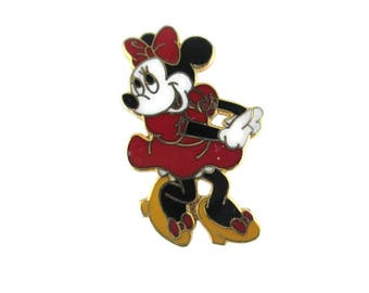Minnie Mouse Lapel Pin/ ©Disney China Tie Tack/Minnie Mouse Red Dress Badge/ Yellow Shoes Mouse Pin/ Minnie Mouse Enamel Pin/ Cartoon Mouse
