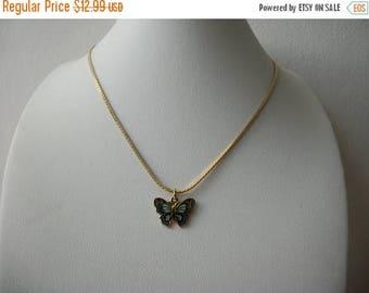 ON SALE Vintage Dainty NAPIER Cloisonne Butterfly Necklace 63117