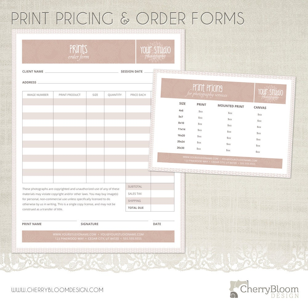 Print Order Form and Print Pricing Template for Photographers