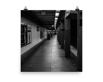 Black And White New York City Subway Photo paper poster