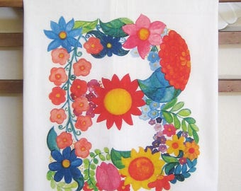 "Monogram ""B"" Flower Letter Kitchen Towels"