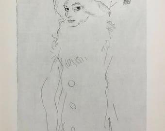 "Egon Schiele ""The Artist's Sister Greta"" from Egon Schiele-As a Draughtman by Otto Denesch, 1950, 9.25 x 13.5 inches"