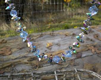 Gorgeous Vintage Crystal Necklace Aurora Borealis Aqua Powder Blue Sparkly