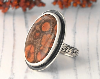 Poppy Jasper Ring - sterling silver Poppy Jasper statement ring - US size 7 -  oval poppy japer ring floral band - silver poppy jasper ring