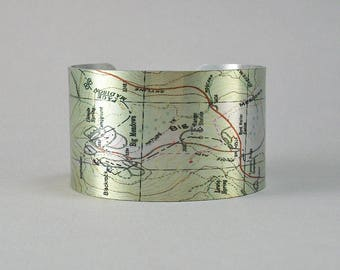 Big Meadows Appalachian Trail Shenandoah National Park Virginia Map Cuff Bracelet Unique Hiking Gift for Men or Women