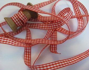 2 Metres red checkered gingham Ribbon / 9mm