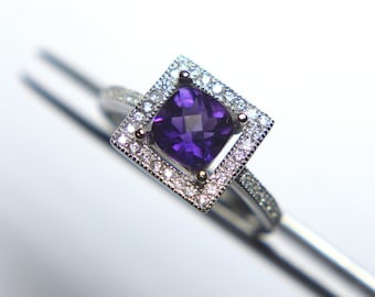 Rich Deep Purple African Amethyst Checkerboard Square Cusion in a Stunning Halo Sterling Ring