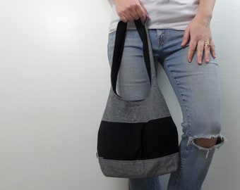 color block medium handbag black/gray linen with black center panel and black interior. ready to ship and clearance priced.