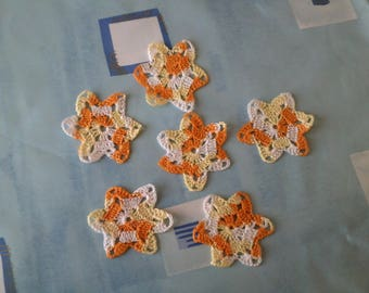 lot 6 stars cotton made in crochet