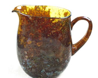 Vintage Hand Crafted Amber Glass Pitcher