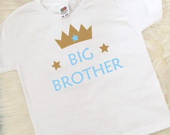 Big Brother T-shirt, Brother Top, Boys Clothing, Christmas Stocking Filler, Made in the Uk