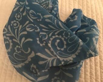 Vintage Silk Scarf Chiffon Cowl Blue White Floral So Pretty