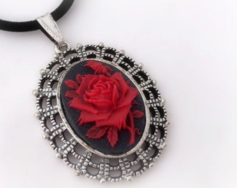 Red rose cameo necklace, victorian gothic jewelry, dark princess pendant