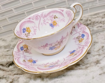 Spencer Stevenson Regina teacup and saucer, Spencer Stevenson teacup, pink tea set, floral tea cup, English bone china