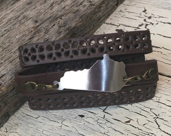 Brown Wrap Around Leather Cuff Bracelet - Kentucky Jewelry - Leather Cuff