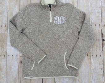 Charles River Monogram Heathered Fleece Pullover | Monogram Pullover | Monogram Quarter Zip | Monogram Half Zip | Fall Monogram