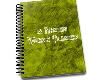 12 Months Weekly Planner: Undated Weekly Planner | 2 pages per week | Notes | Green Canvas