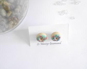 Blue icing donut earrings