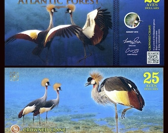 Atlantic Forest, 25 Aves Dollars, 2016 - Crowned Crane