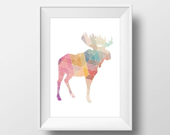 Colorful Geometric Moose Print, Moose Print, Moose Wall Art, Geometric Moose, Printable Moose Art, Moose Decor, Animal Nursery Decor