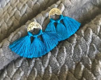 Tassel earrings, Blue tassel earrings, Boho tassels, Resort earring, Wedding tassel earrings, Mini tassel, Fashion lover, Bohemian