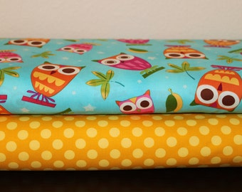 Robert Kaufman Michael Miller Fabric Duo On a Whim Owls Aqua and Ta Dot Mustard 2 yards total