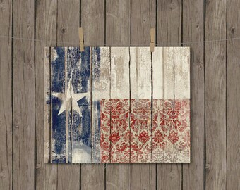 Texas Flag Art Print instant download vintage wood chippy paint distressed worn white red blue lone star home decor apartment nursery