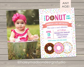 Donut Birthday Invitation, Sprinkles, Donut Birthday party invitation DIGITAL FILE