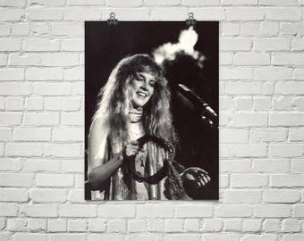 Stevie Nicks Poster - Fleetwood Mac Poster - Music Poster - Black And White Poster - Bohemian Decor - Premium Semi-Gloss Photo Paper Poster