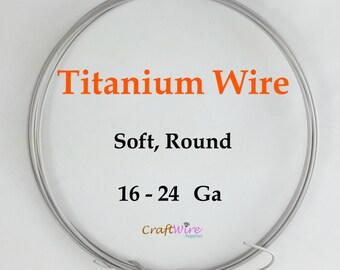 Pure Titanium Wire, Soft, Round, 16 18 20 24 Gauge, Hypoallergenic Wire, Grade 1, Titanium Alloy, Silvery-Gray