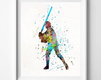 Luke Skywalker, Star Wars Print, Luke Skywalker Art, Star Wars Poster, Watercolor Art, Baby Room Decor, Baby Shower Gift, Mothers Day Gift