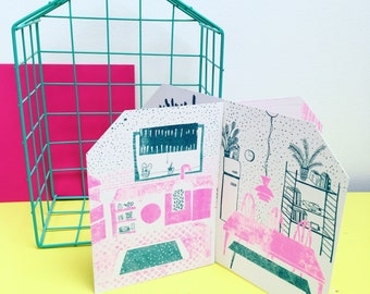 Risograph slotted card print