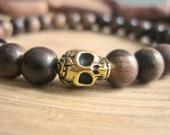Mens Skull Bracelet - Wooden Bracelet for Men with Tiger Ebony Beads and Gold Skull, Brown Wood Beads for Strength and Transformation