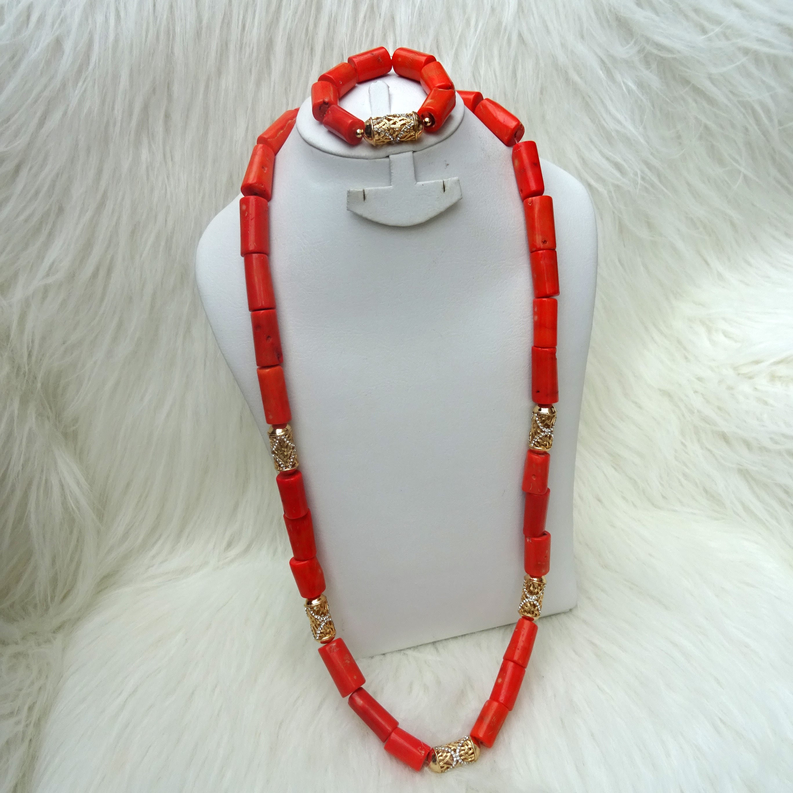 Men Traditional Groom Coral African Nigerian Beads Necklace