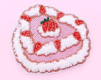 Strawberry cake chenille iron on patch