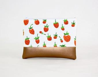 MIDI Bag - Strawberry copper, bag, cosmetic bag, purse, make-up bag, vegan, minimalist, pouch, pencil case,