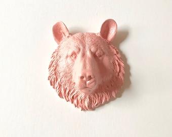 PASTEL APRICOT Small Faux Taxidermy Bear Head wall mount / mini faux animal head / woodland wall decor nursery wall decor pastel animal head