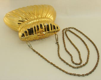 Gold Minaudière Hard Shell Evening Bag Vintage Heys Handbag
