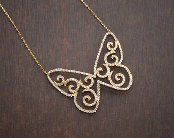 AAAA 92.5 Sterling Silver Butterfly Charm Necklace/Party Wear/Charm Pendant/Charm Necklace/Christmas Gift/Gift For Her/Wife/Sister(0172,174)