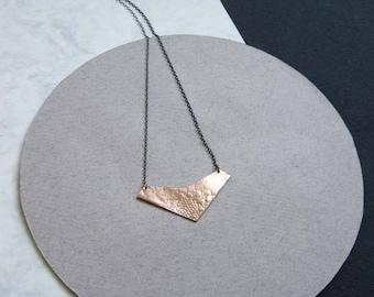 Rise gold vermeil lace textured geometric chevron pendant on fine oxidised silver chain