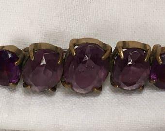 Antique Victorian brass 5 stone purple amethyst paste rhinestone brooch