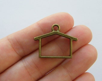 2 House charms antique bronze tone BC178