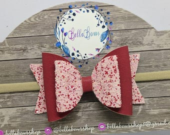 """Red Glitter/Leather Mix Hair Bow-Alligator Clip-Baby Headband-Photo Prop-Chunky Glitter-Faux Leather-Toddler hair Bow-3.5"""" Hair Bow"""