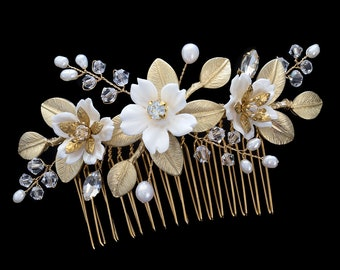 Bridal comb, Wedding Accessories, Bridal Headpiece, Wedding headpiece, Pearl and crystal Headpiece | FAITH