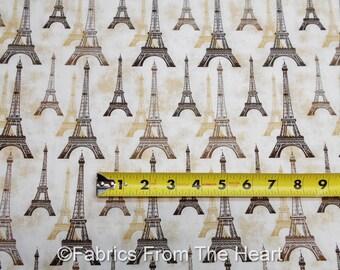 City of Lights Paris Eiffel Tower On Tans BY YARDS Robert Kaufman Cotton Fabric